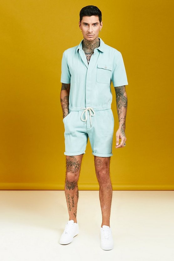 Mens Sea grass Short Length Denim Jumpsuit