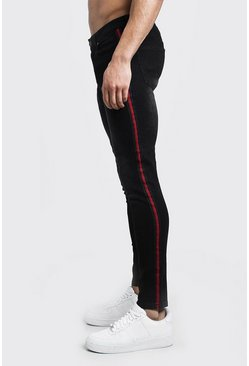 Mens Washed black Super Skinny Jeans With Side Tape