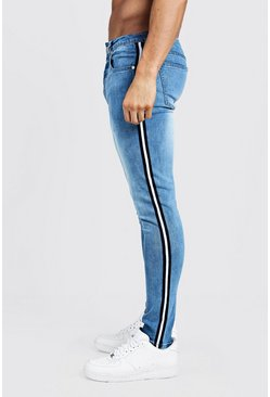Mens Washed blue Super Skinny Jeans With Side Tape