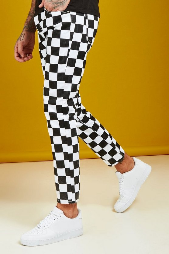 Slim Fit Checkerboard Print Jeans