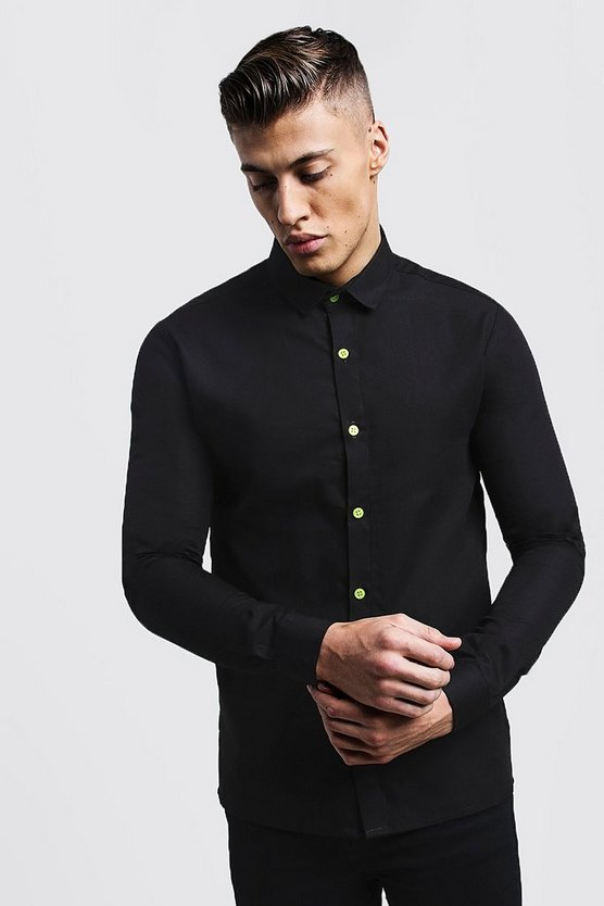 Mens Black Slim Fit Long Sleeve Shirt With Neon Yellow Buttons