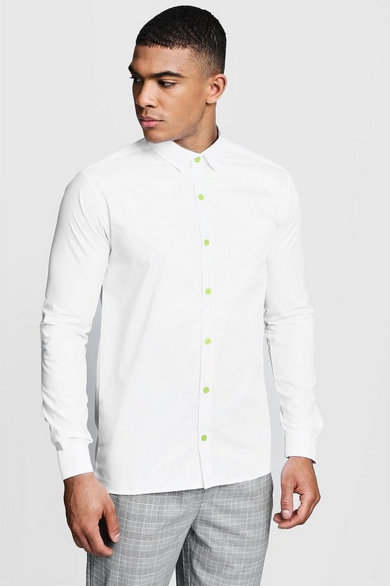 Mens White Slim Fit Long Sleeve Shirt With Neon Yellow Buttons