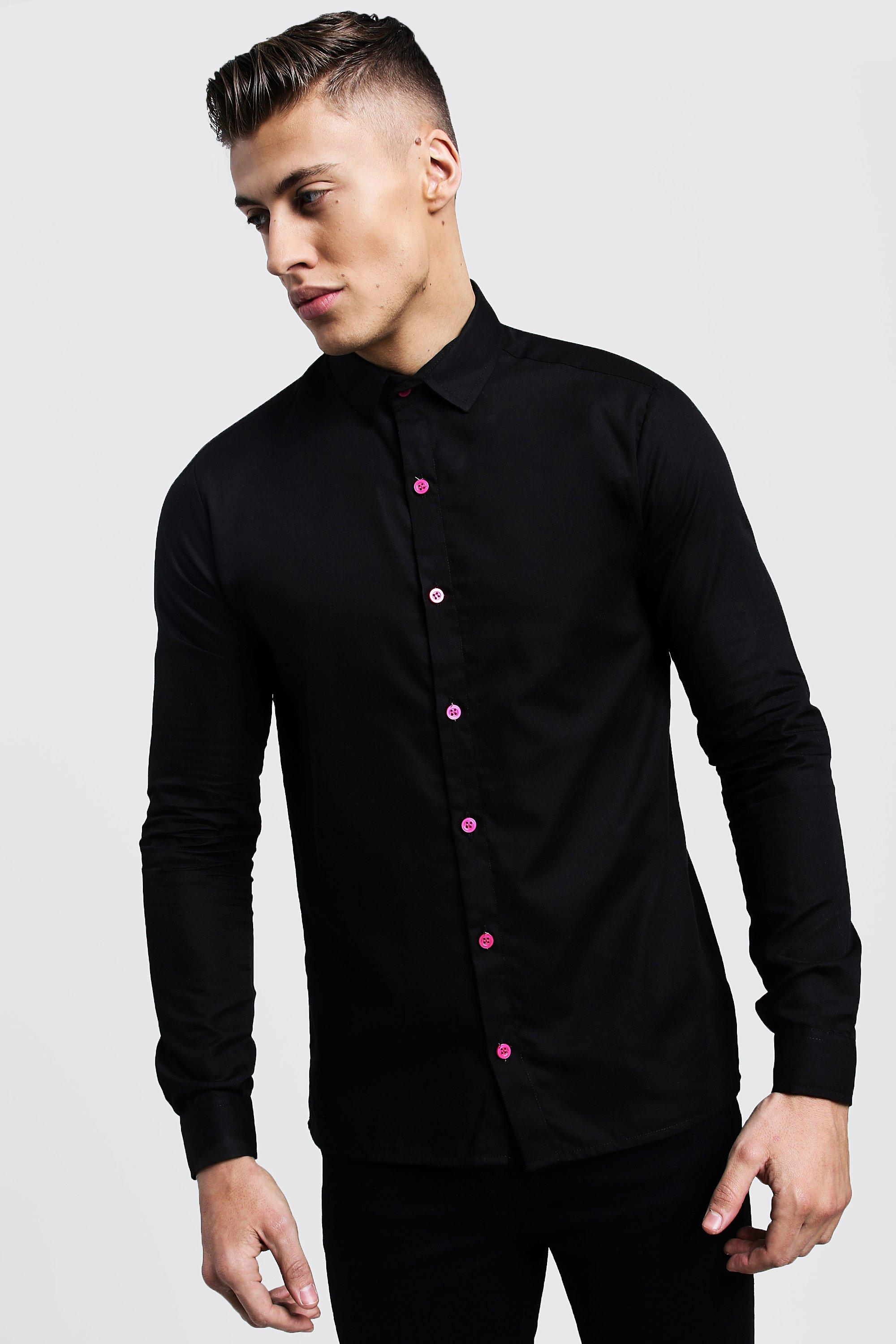 Slim Fit Long Sleeve Shirt With Neon Pink Buttons