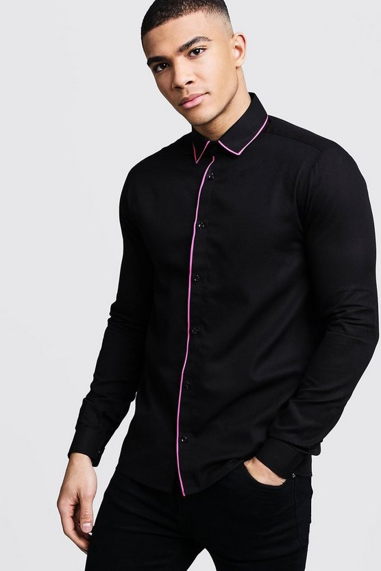 Mens Black Slim Fit Shirt With Neon Pink Piping