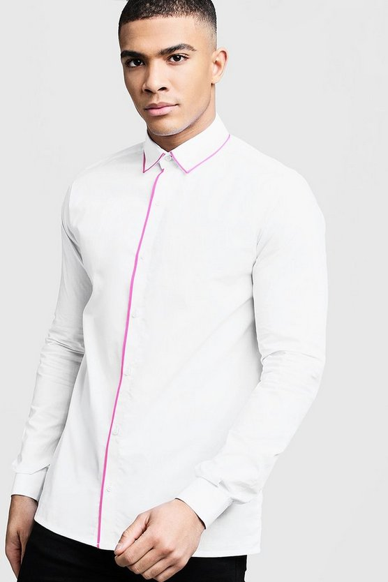 Mens White Slim Fit Shirt With Neon Pink Piping