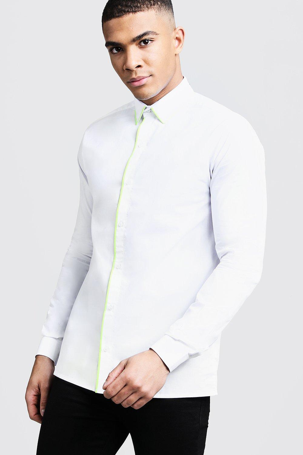 Slim Fit Long Sleeve Shirt With Neon Yellow Piping