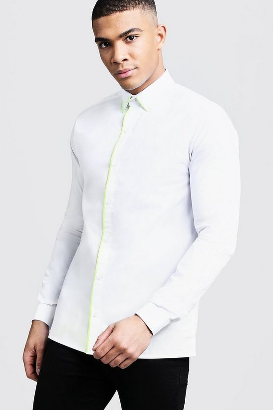 Mens White Slim Fit Long Sleeve Shirt With Neon Yellow Piping