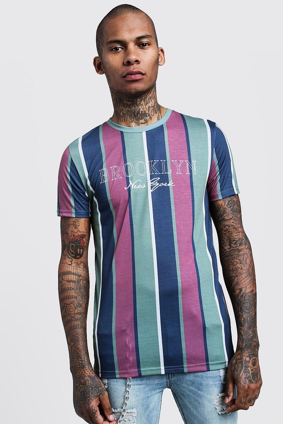 be60f4ed7e9 Mens Khaki Brooklyn Slogan Vertical Stripe T-Shirt
