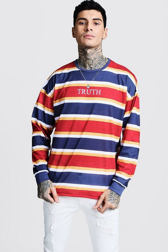Mens Red Cuffed Stripe T-Shirt With Truth Embroidery