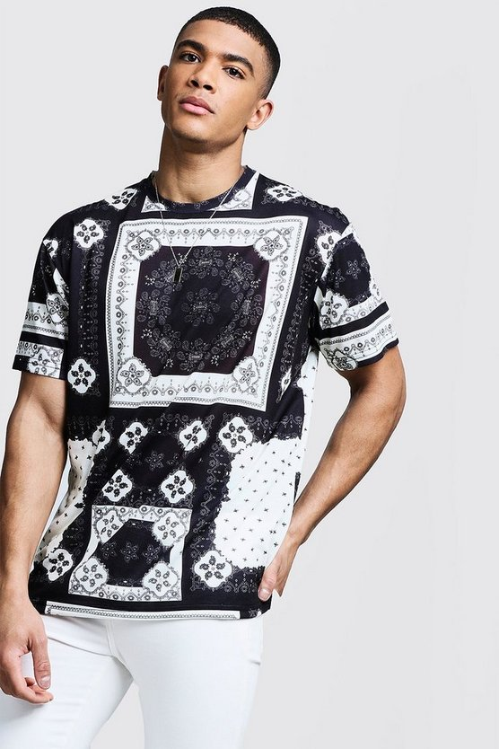 Mens Black Bandana Loose Fit Tee