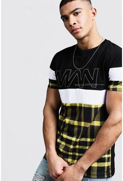 Mens Black Colour Block Check MAN International