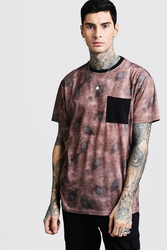 Mens Oversized Camo Tee With Block Pocket