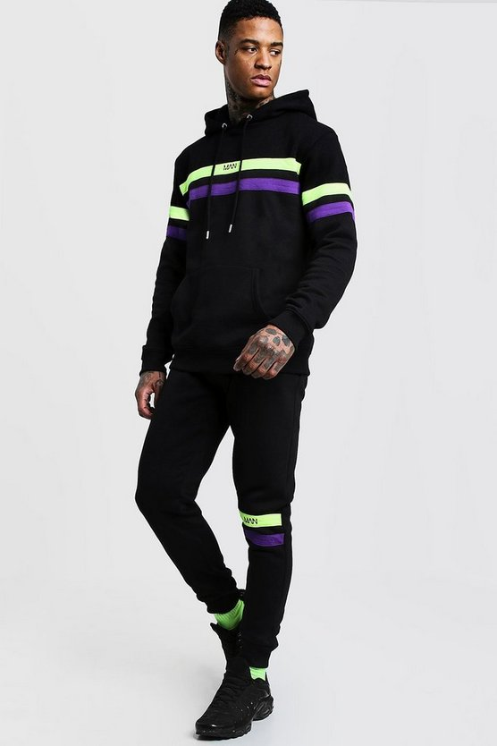 Mens Black Original MAN Contrast Panel Hooded Tracksuit