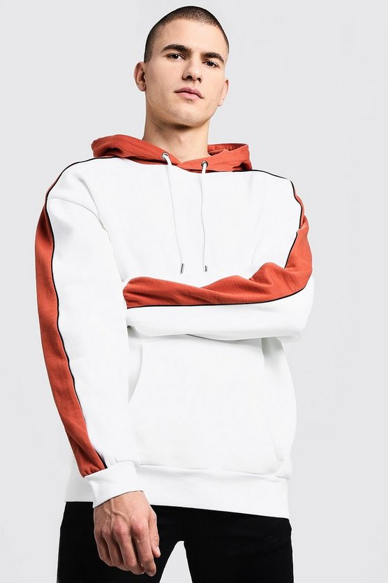 Mens Cream Oversized Colour Block Over The Head Hoodie