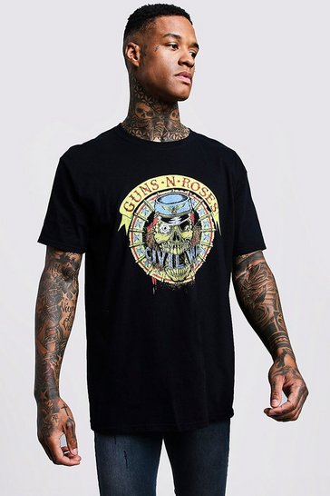 Mens Black Guns N Roses Oversized Tour T-Shirt