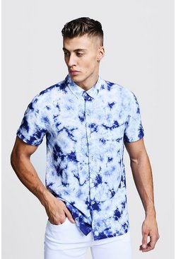 Mens Blue Tie Dye Short Sleeve Shirt