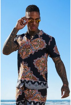 Mens Black Paisley Tile Print Short Sleeve Shirt