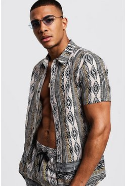 Mens Stone Aztec Border Print Short Sleeve Shirt