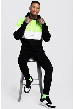 Herr Black Neon Colour Block MAN Signature Hoodie