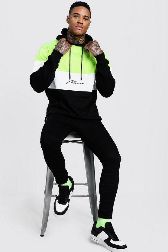 Mens Black Neon Colour Block MAN Signature Hoodie