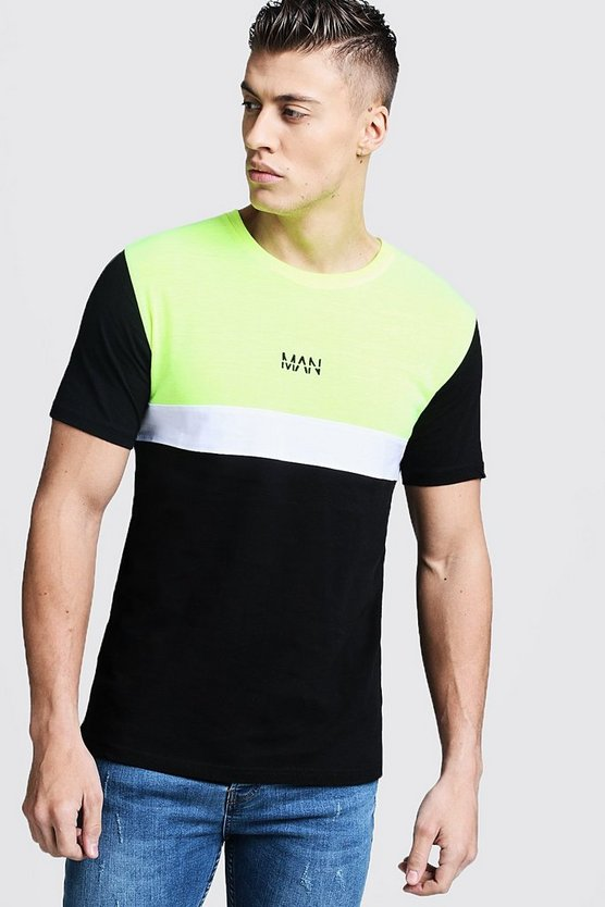 Black Neon Colour Block MAN T-Shirt