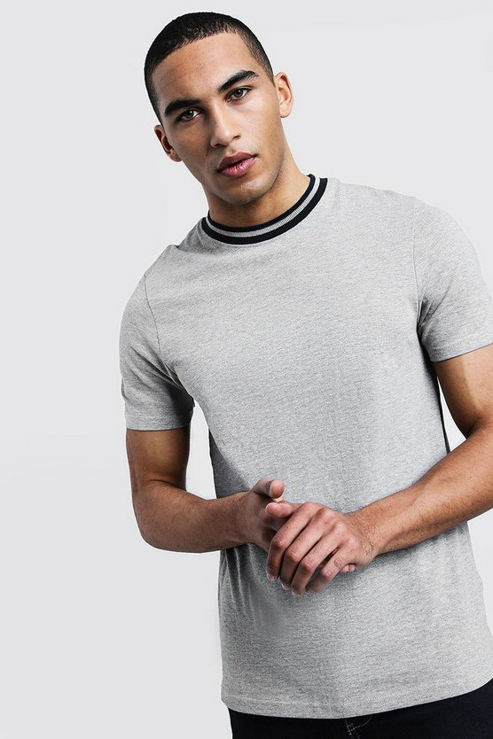Pique Extended Neck T-Shirt With Contrast Tip