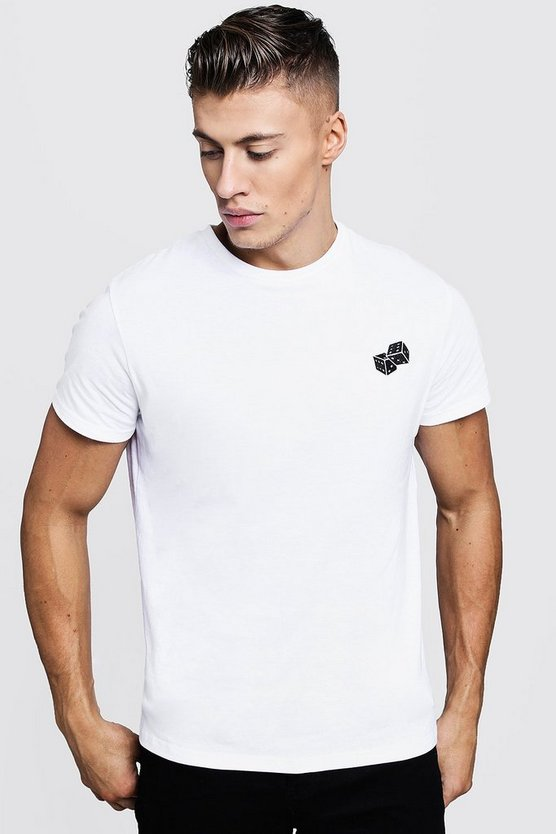 Mens White Crew Neck T-Shirt With Dice Embroidery