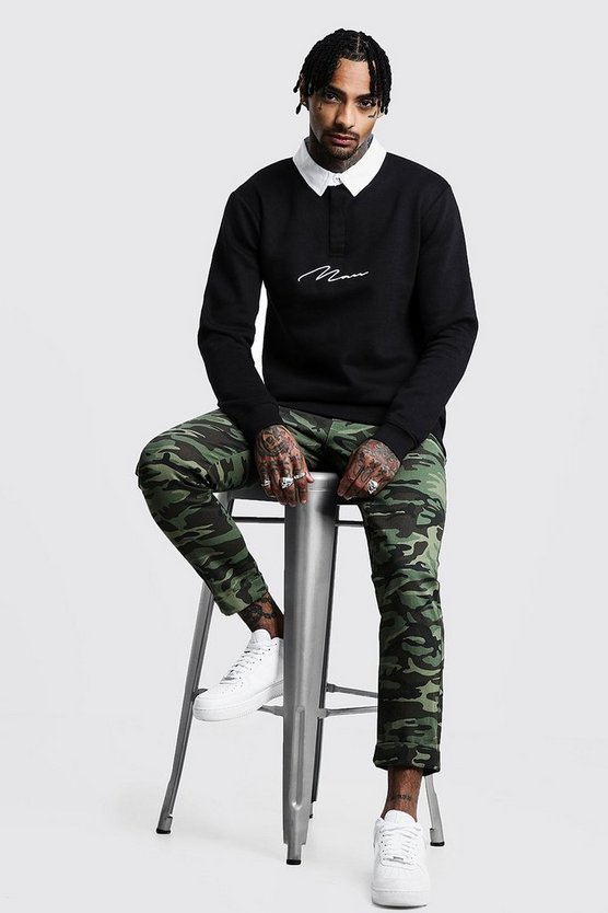 Black MAN Signature Rugby Sweat
