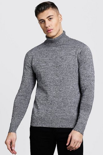 Mens Twisted Roll Neck Jumper