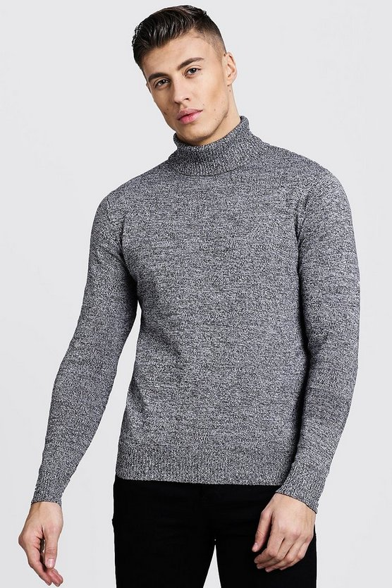 Mens Grey Twisted Roll Neck Jumper
