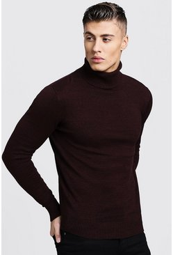 Mens Maroon Twisted Roll Neck Jumper