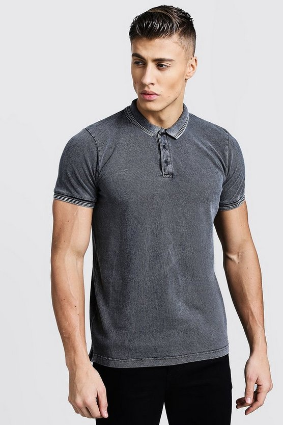 Charcoal Short Sleeve Washed Pique Polo
