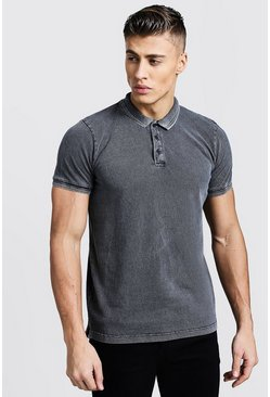 Mens Short Sleeve Washed Pique Polo