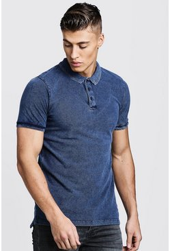 Mens Denim Short Sleeve Washed Pique Polo