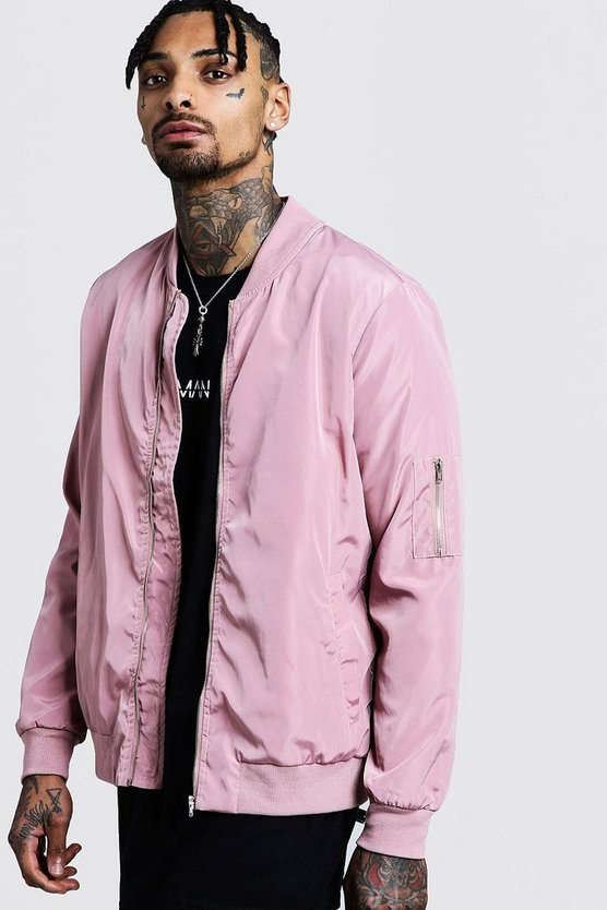 Mens Powder pink Ma1 Bomber Jacket