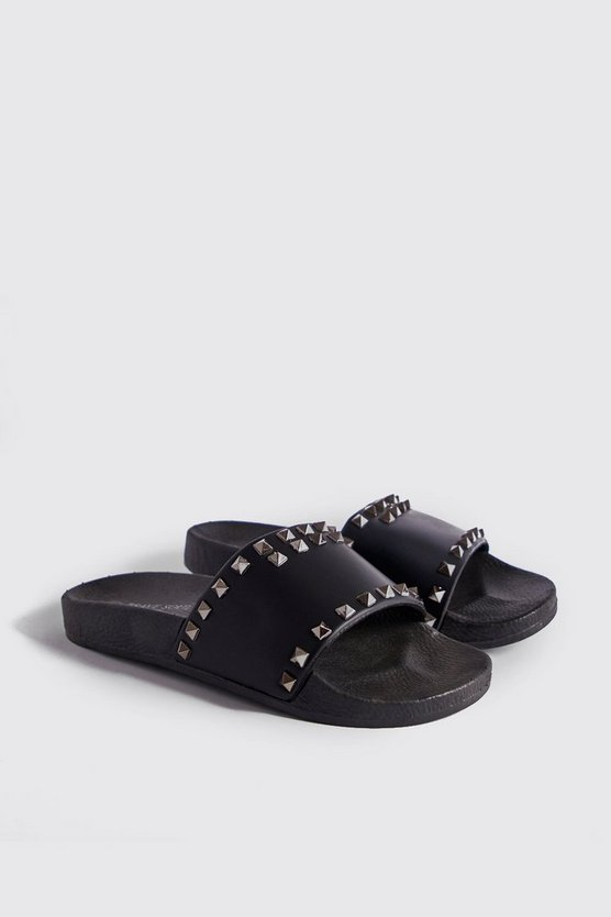 Mens Black PU Slider With Stud Detail