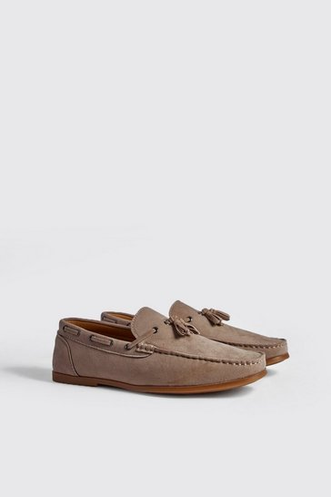 Sand Faux Suede Loafer With Tassel
