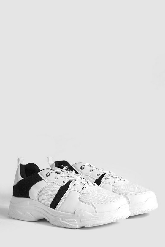 White Contrast Detail Chunky Sneakers