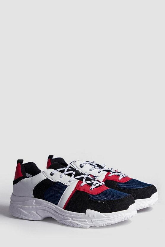 Black Colour Block Chunky Sneakers