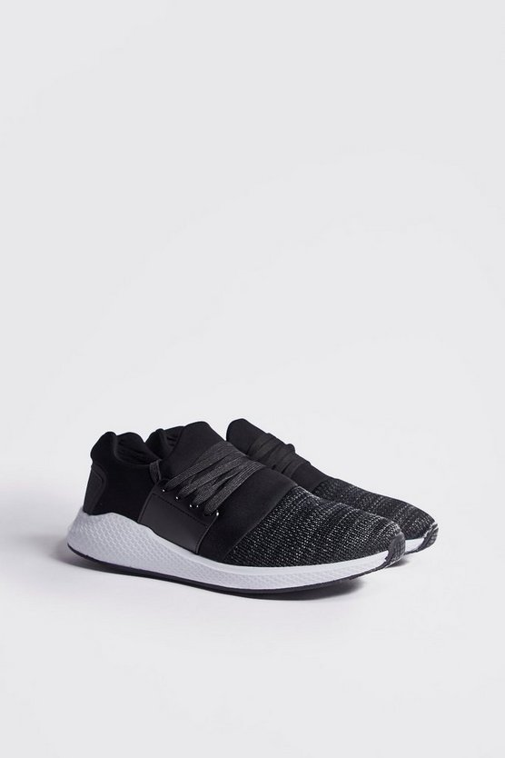 Mens Black Knit And Neoprene Detail Trainers