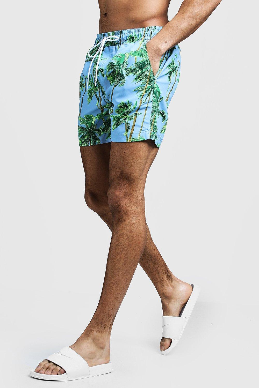 Mid Length Palm Tree Print Swim Short