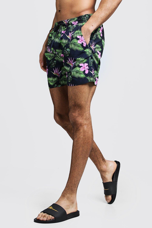 Mid Length Hawaiian Print Swim Shorts