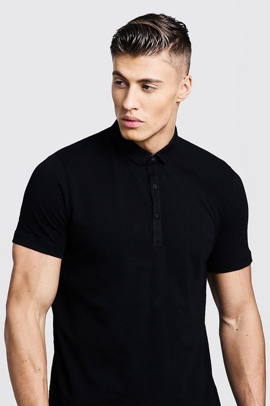 Mens Black Waffle Fabric Short Sleeve Polo