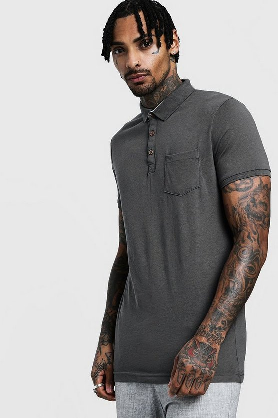 Mens Rib Collar Short Sleeve Polo