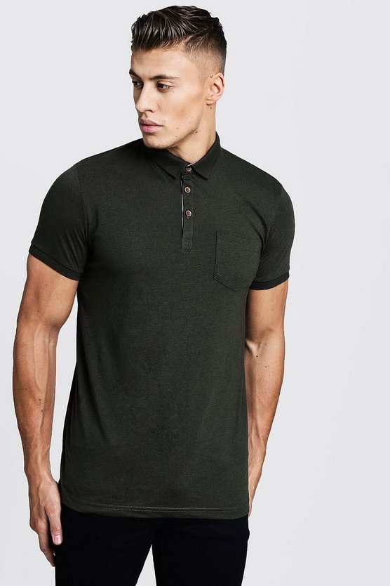 Mens Khaki Short Sleeve Rib Detail Polo