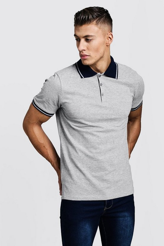 Mens Grey Pique Polo T-Shirt With Collar Tipping
