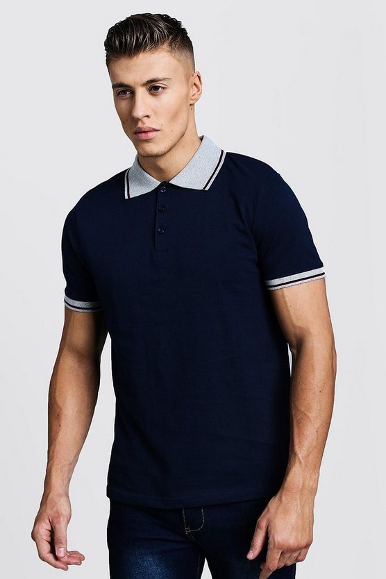 Mens Navy Pique Polo T-Shirt With Collar Tipping