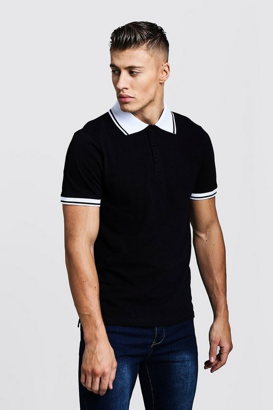 Mens Black Pique Polo T-Shirt