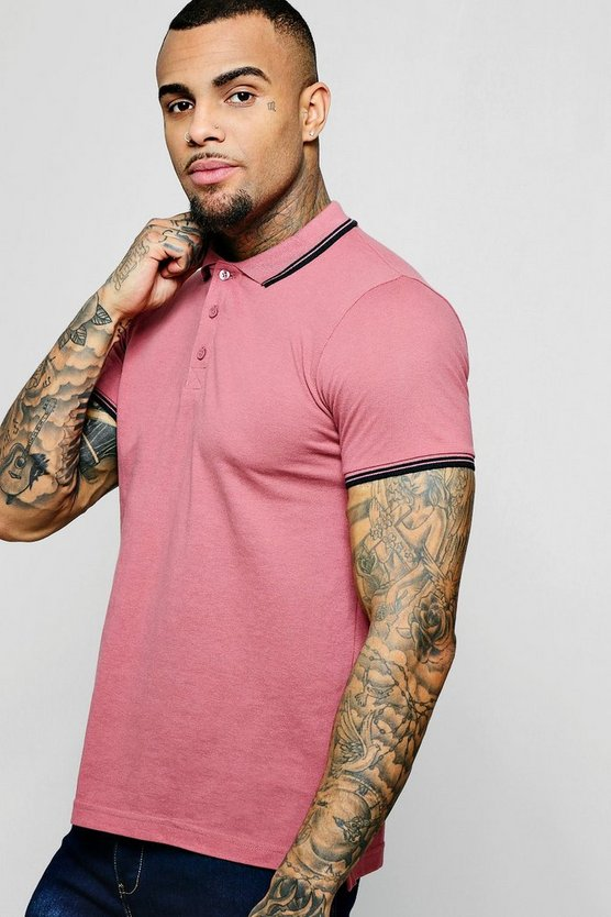 Rose Short Sleeve Pique Polo With Tipping Detail