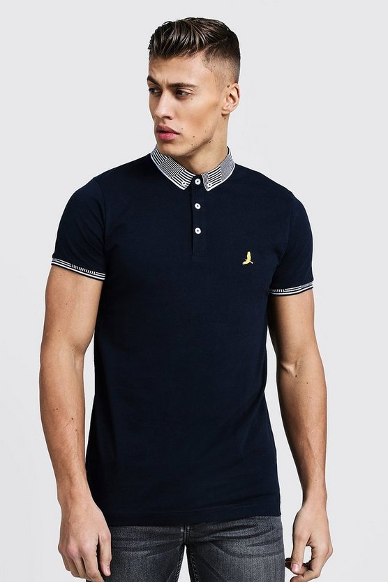 Jacquard Collar Polo With Chest Embroidery
